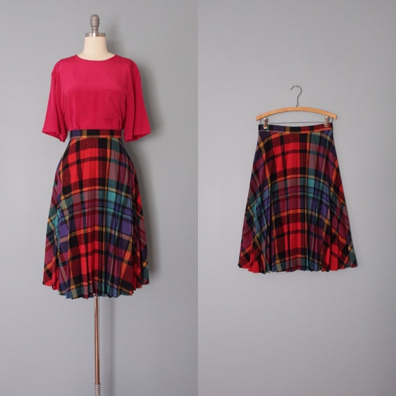 OMBRE plaid skirt | pleated accordion wool skirt |