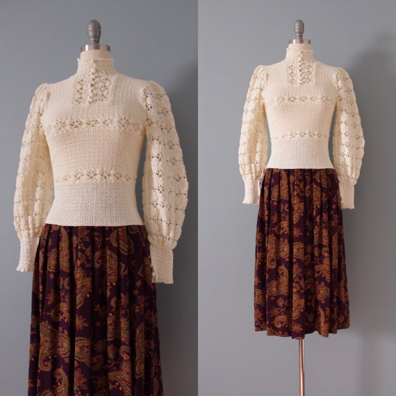 1940s crochet sweater | vanilla white crochet top