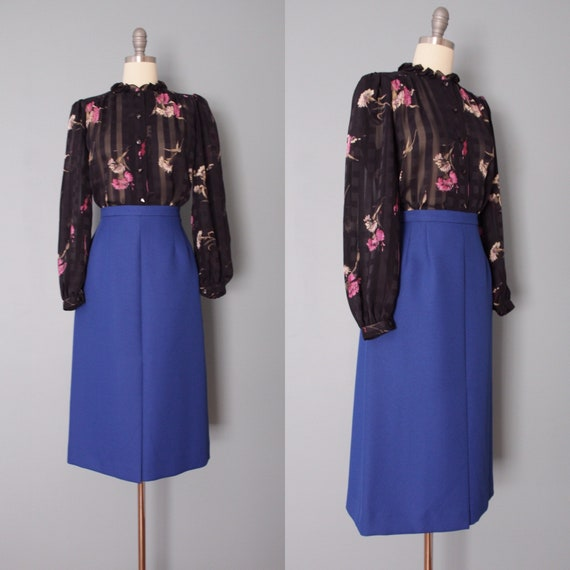 COBALT blue midi skirt | 1970s longline midi skirt