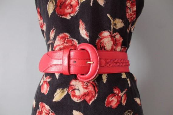 LIPSTICK red leather belt | braided cinch belt | w