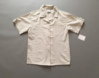 ECRU striped shirt   cotton striped button down shirt   1990s ecru stripes blouse