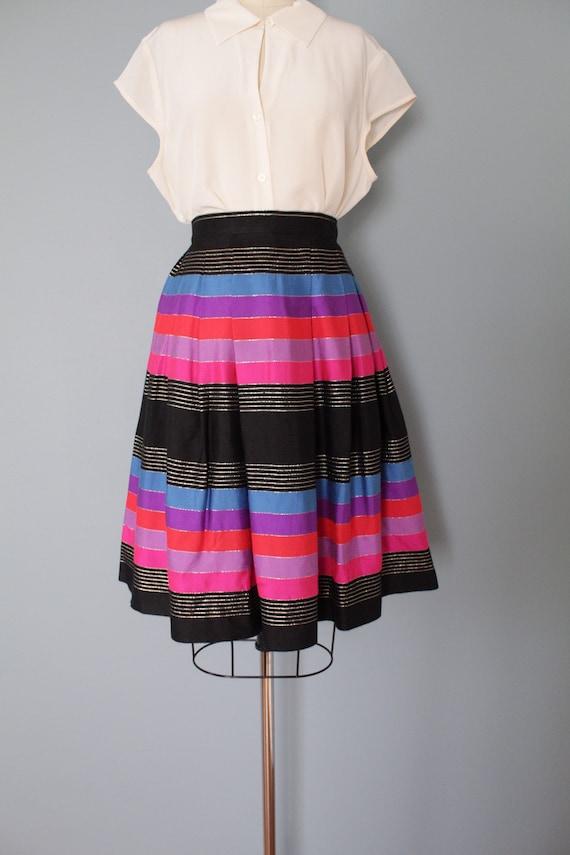 STRIPED silk pleated skirt   1970s JANE CLODEL sk… - image 2