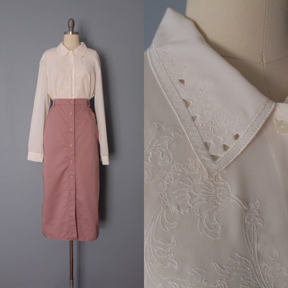 VANILLA embroidered blouse | cut out collar blouse