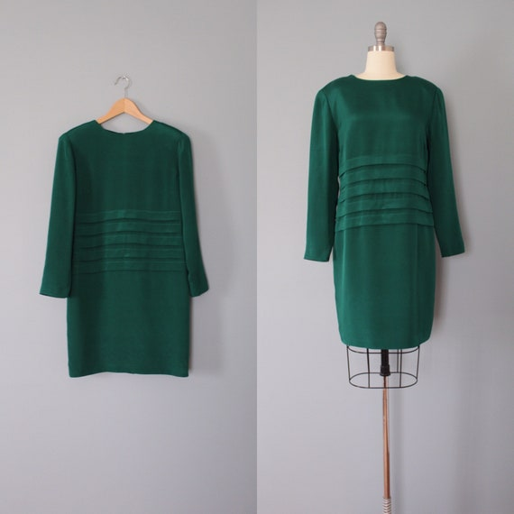 PINE green silk dress | flapper silk dress | pleat