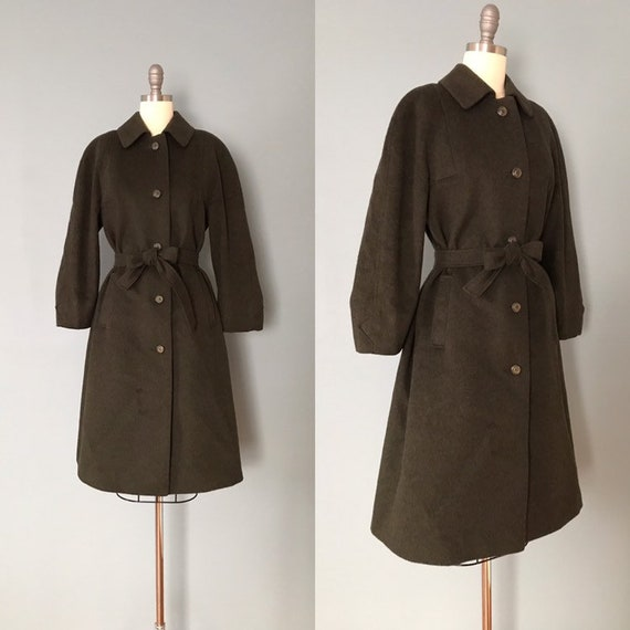 MOSS green wool coat | 1970s West Germany belted c
