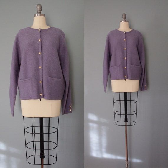 LILAC wool cropped cardigan | boiled wool cardigan
