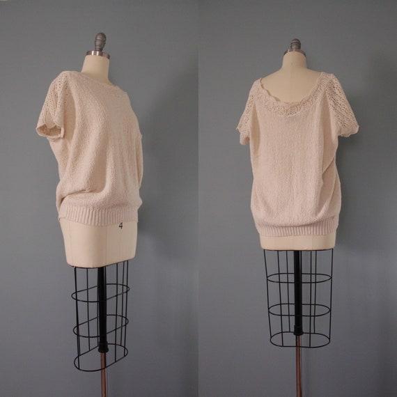 DROP shoulders knitted top | cream beige cotton t… - image 9