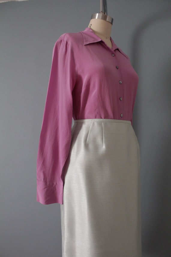 LILAC silk blouse | 1940s inspired silk top | min… - image 6