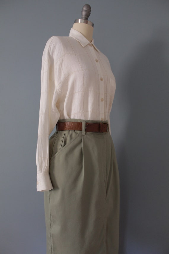 SAGE green maxi skirt | belted cotton skirt | 197… - image 4