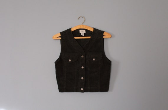 MOSS green corduroy vest | cropped corduroy vest |
