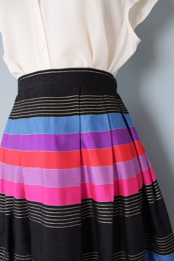 STRIPED silk pleated skirt   1970s JANE CLODEL sk… - image 6