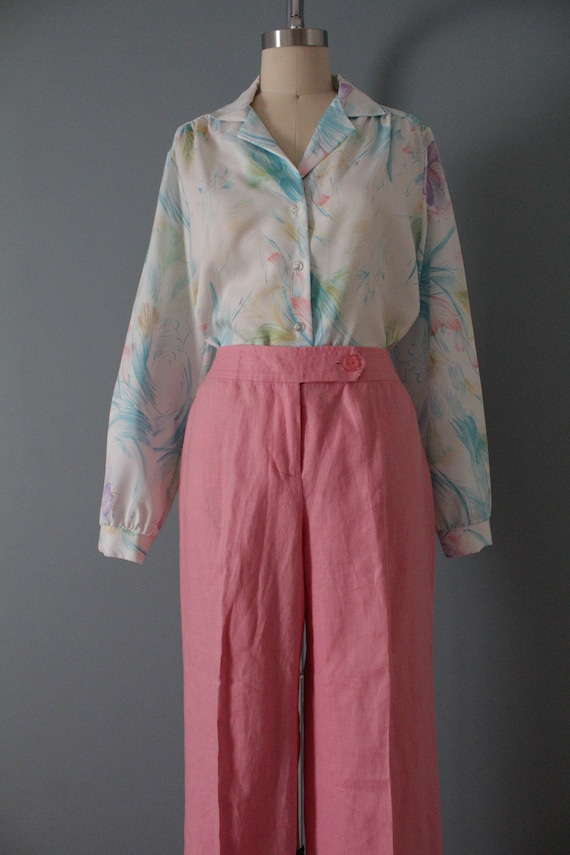 ROSE pink linen trousers   flared sailor pants   … - image 4