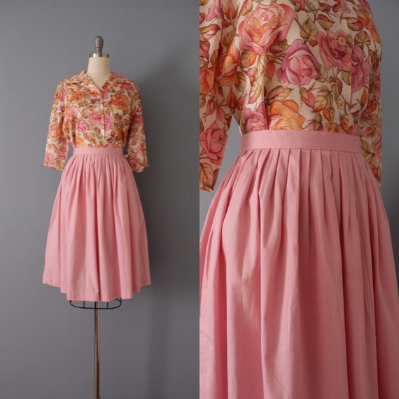 ROSE cotton skirt | 1950s midi skirt | pleated ret