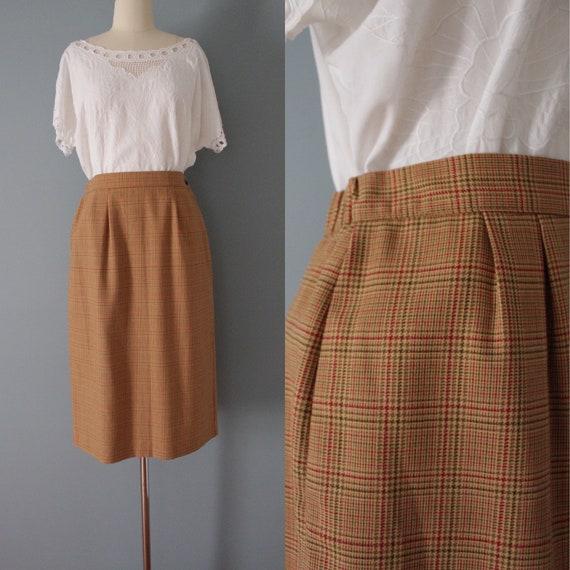 AUBURN plaid mini skirt   1980s mini pencil skirt… - image 1