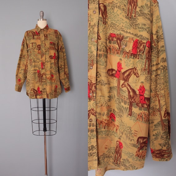 EQUESTRIAN print blouse | sepia cotton blouse | ho