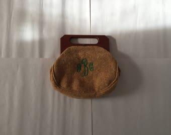 1950s wool initialed purse   wooden handles purse   honey brown boucle handbag