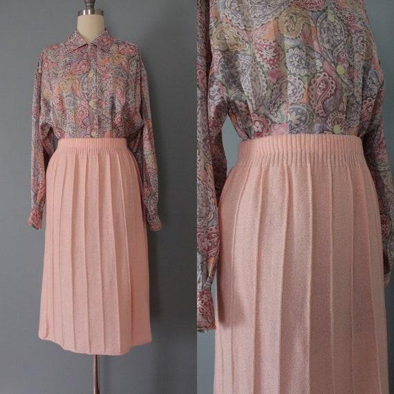 Vintage 1970s Dress Medium Women bright pink pleated skirt Marilyn style
