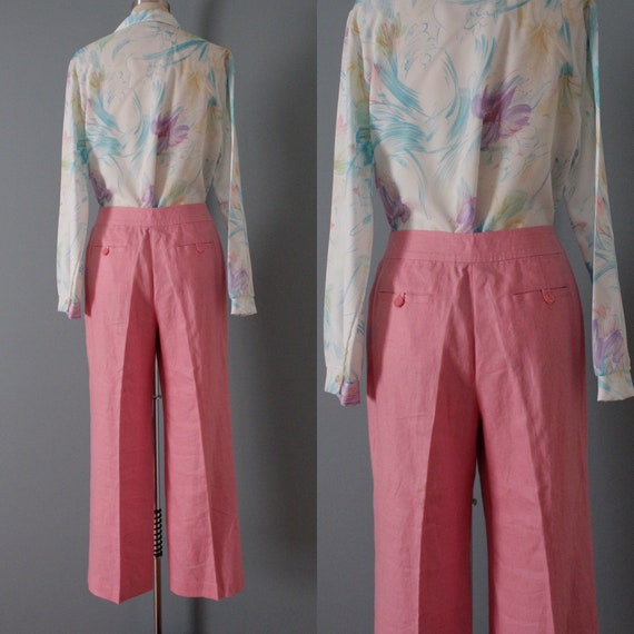 ROSE pink linen trousers   flared sailor pants   … - image 8