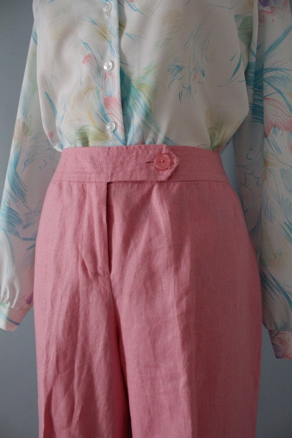 ROSE pink linen trousers   flared sailor pants   … - image 6