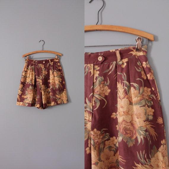 MULBERRY red shorts   botanical linen cuffed short