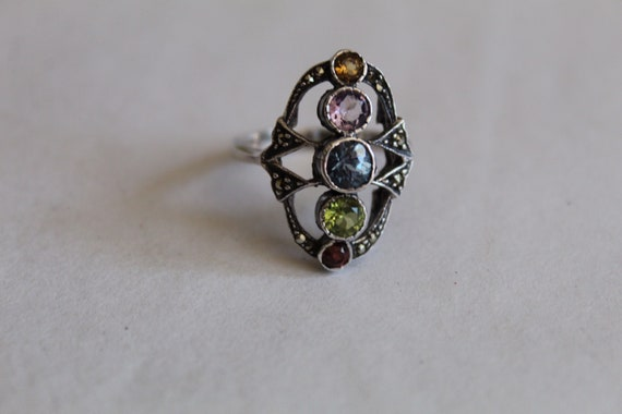 ART DECO multi stone ring | sterling silver ring |