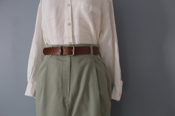 SAGE green maxi skirt | belted cotton skirt | 197… - image 3