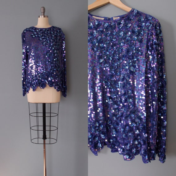 SEQUINED silk blouse | beaded sequined top | sequi