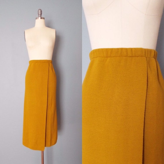 MUSTARD knitted skirt   1970s wrap knitted maxi sk