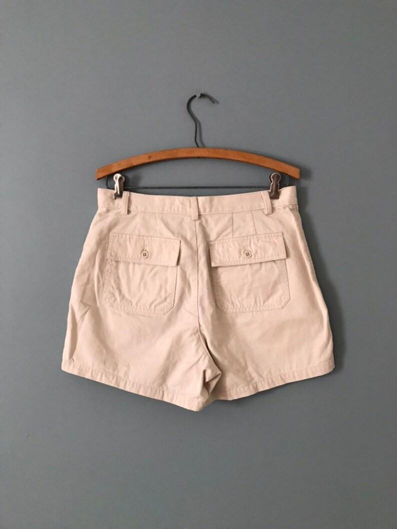 Crew cotton shorts beige gray safari shorts envelope pockets tap shorts 1990s J