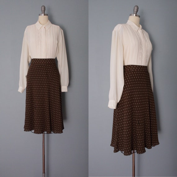 COFFEE brown silk skirt | polka dot skirt | silk m