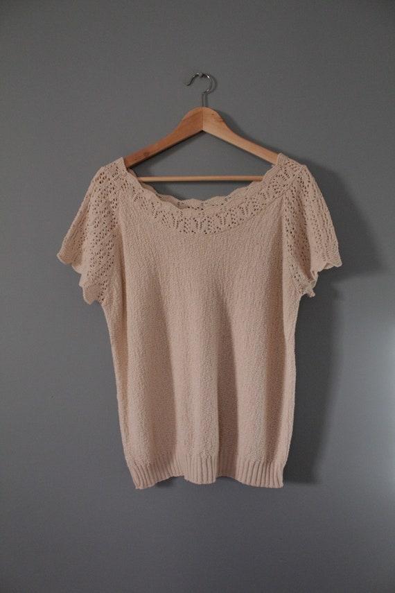DROP shoulders knitted top | cream beige cotton t… - image 3