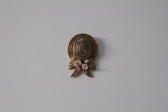 STRAW hat brooch | straw hat with roses brooch | r