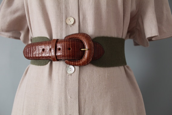 SAGE green elastic belt | chestnut leather belt |