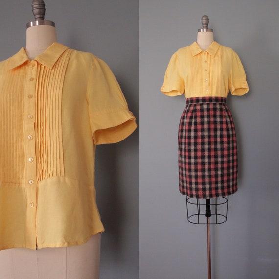 MARIGOLD linen top | peplum linen blouse | pleated