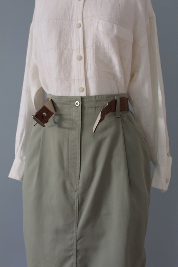 SAGE green maxi skirt | belted cotton skirt | 197… - image 10