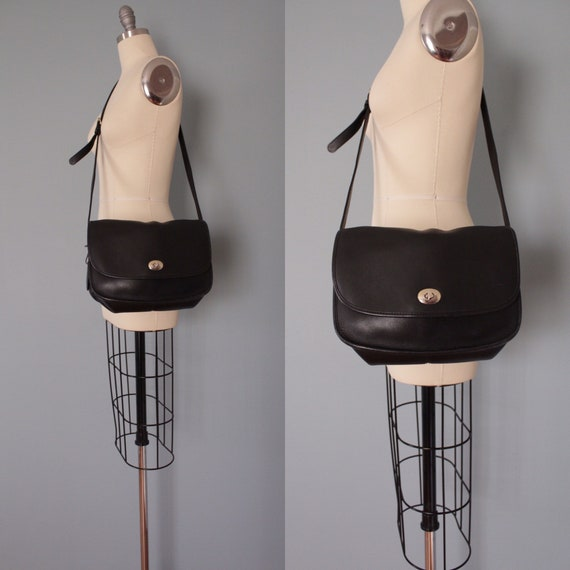 LARGE black leather bag | turn lock leather bag |
