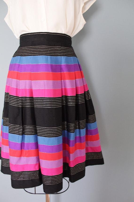 STRIPED silk pleated skirt   1970s JANE CLODEL sk… - image 5