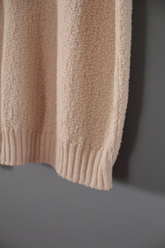 DROP shoulders knitted top | cream beige cotton t… - image 8