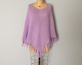 Mlilac knitted poncho | 70s fringed cape