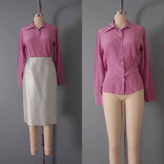 LILAC silk blouse | 1940s inspired silk top | min… - image 1