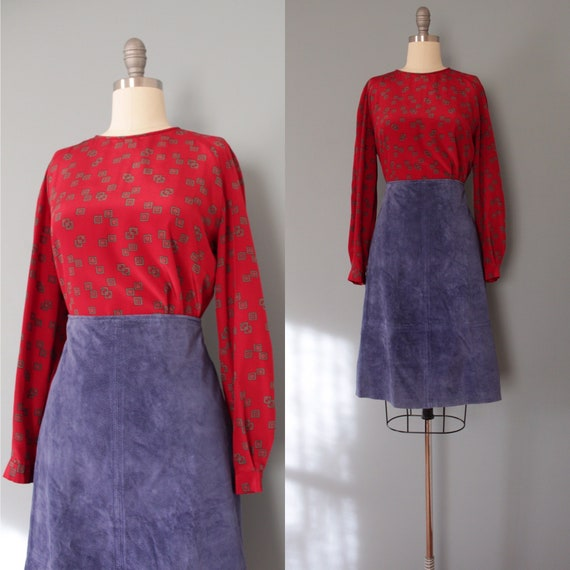 CRANBERRY red blouse | squares print poet blouse |