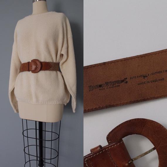 1980s Banana Republic belt | chestnut leather wove