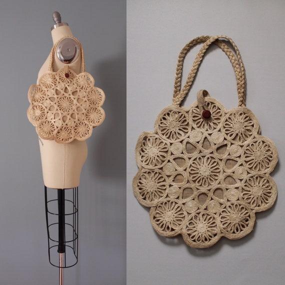 SUN straw tote | 1970s straw market bag | woven ma