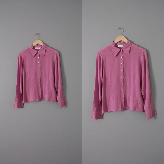 LILAC silk blouse | 1940s inspired silk top | min… - image 7