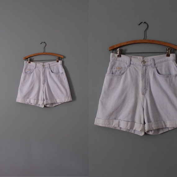 DENIM cuffed shorts | pale blue denim shorts | hig