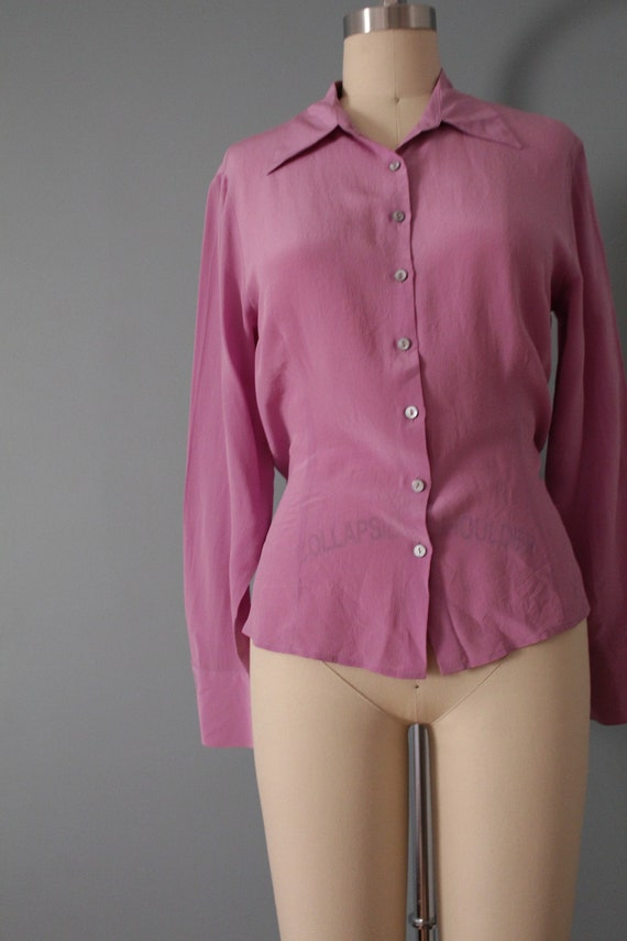 LILAC silk blouse | 1940s inspired silk top | min… - image 3
