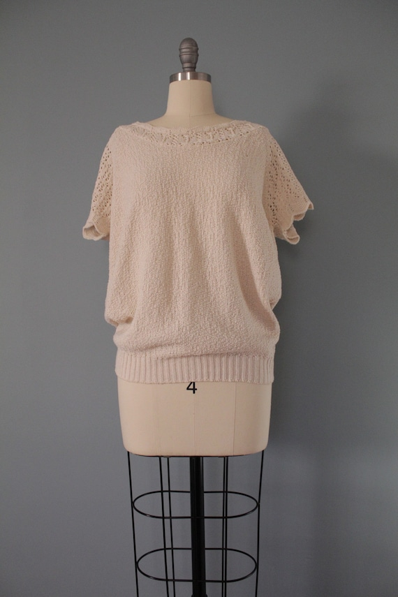 DROP shoulders knitted top | cream beige cotton t… - image 2