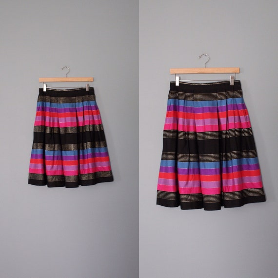 STRIPED silk pleated skirt   1970s JANE CLODEL sk… - image 3