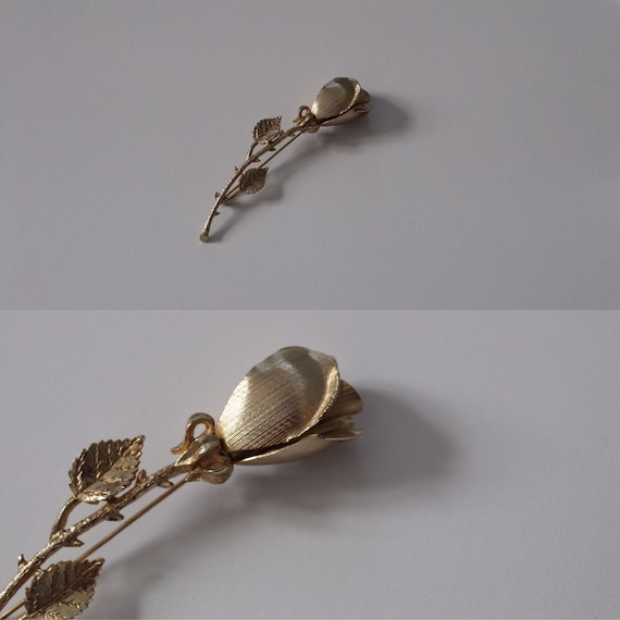 ROSE brooch | gold tone rose stem brooch | detail… - image 2