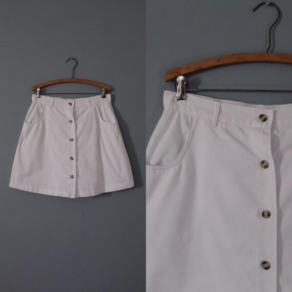CHALK white skort | button down front skort | high